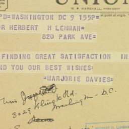 Telegram : 1950 November 9