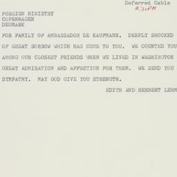 Telegram: 1963 June 6