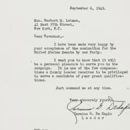 Letter : 1949 September 6