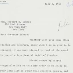 Letter : 1963 July 5