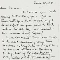 Letter: 1954 June 15