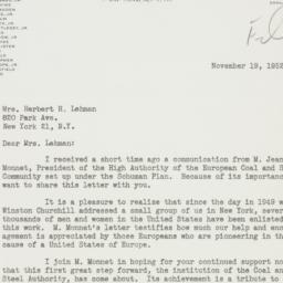 Letter : 1952 November 19