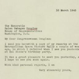 Letter : 1945 March 10