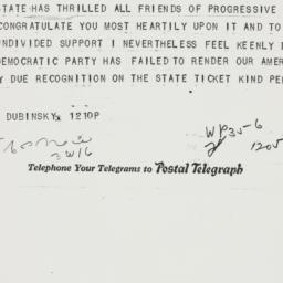 Telegram : 1938 October 1
