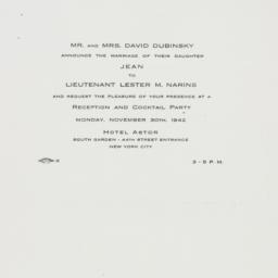 Invitation: 1942 November 30
