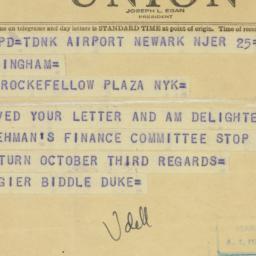 Telegram : 1949 September 25