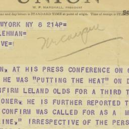 Telegram : 1949 October 8