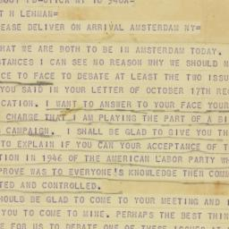 Telegram : 1949 October 18