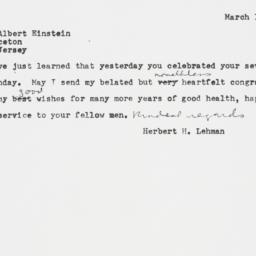 Telegram : 1953 March 16