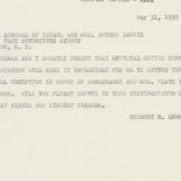 Telegram : 1950 May 31