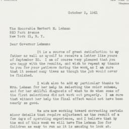 Letter : 1961 October 2