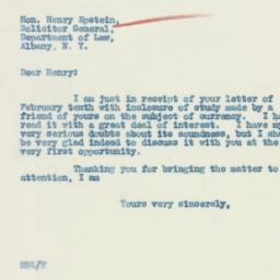 Letter : 1933 February 14