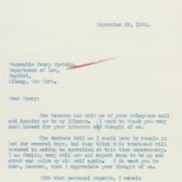 Letter : 1933 September 29