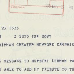 Telegram : 1958 November 3