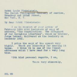 Letter : 1938 February 15