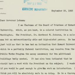 Letter : 1933 September 22