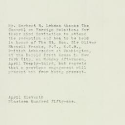 Note: 1951 April 11