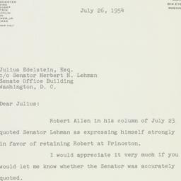 Letter : 1954 July 26