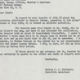 Letter : 1954 July 30