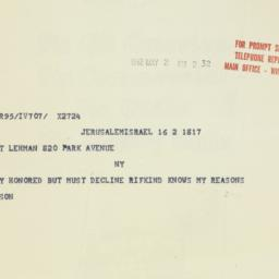 Telegram: 1962 May 2