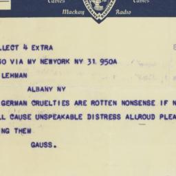 Telegram : 1933 March 31