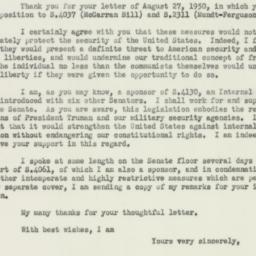 Letter : 1950 September 4