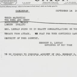 Telegram : 1940 September 14