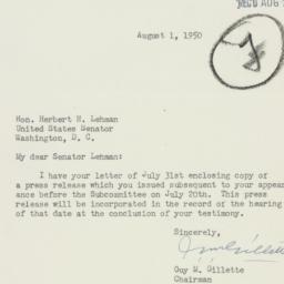 Letter: 1950 August 1