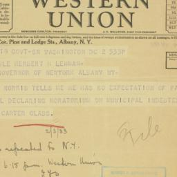 Telegram : 1933 March 2