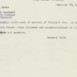 Telegram : 1952 February 27