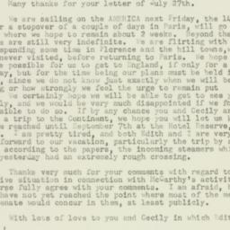 Letter : 1953 August 12