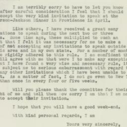 Letter: 1952 February 29