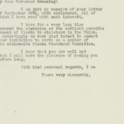Letter : 1949 September 30