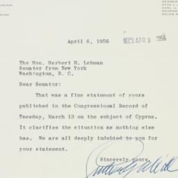 Telegram: 1956 April 6
