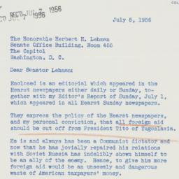 Telegram : 1956 July 5