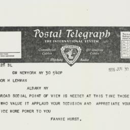 Telegram : 1936 June 30