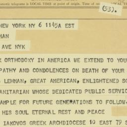 Telegram: 1963 December 6