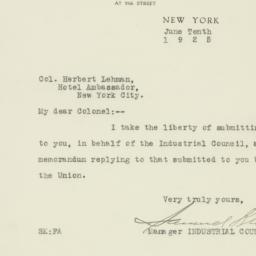 Letter: 1925 June 10