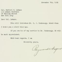 Letter: 1925 November 7