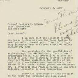 Letter : 1925 February 6