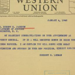 Telegram : 1940 January 4