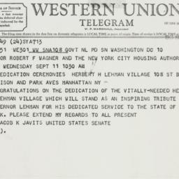Telegram: 1963 September 10
