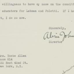 Letter : 1938 November 1