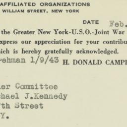 Ephemera : 1943 February 3