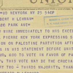 Telegram : 1947 November 25