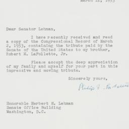 Letter : 1953 March 12