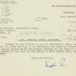 Letter : 1947 September 16