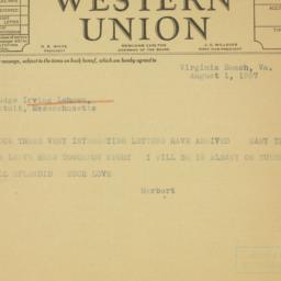 Letter: 1937 August 1