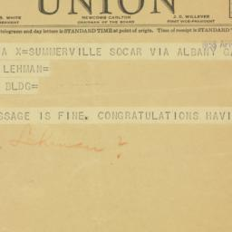 Telegram: 1938 April 1