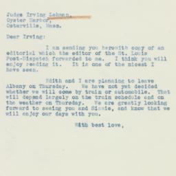 Letter: 1938 July 19